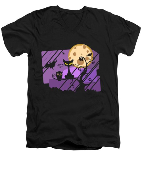 Happy Halloween Cat Men's V-Neck T-Shirt