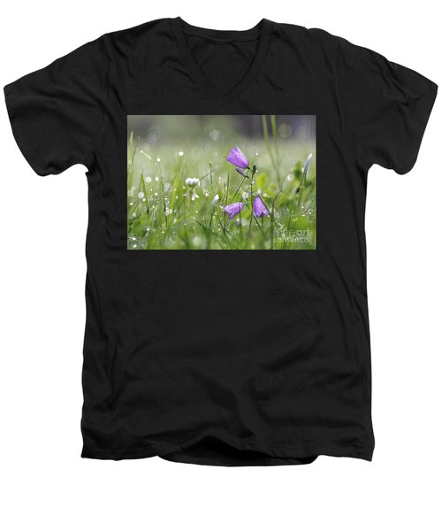Harebells And Water Drops Men's V-Neck T-Shirt