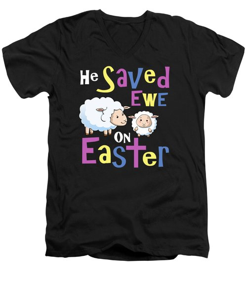 He Save Ewe On Easter Cute Easter Shirts Kids Men's V-Neck T-Shirt