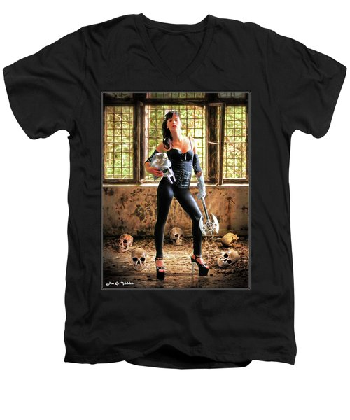 High Heeled Zombie Slayer Men's V-Neck T-Shirt