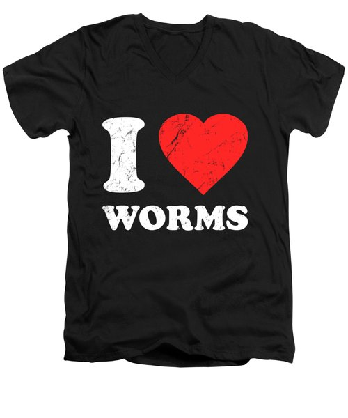 I Love Worms Men's V-Neck T-Shirt