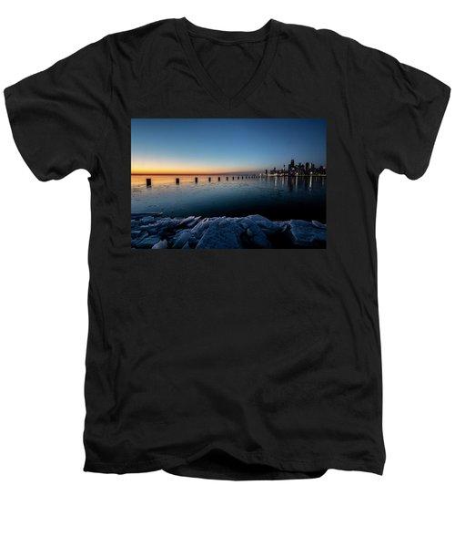Icy Chicago Skyline At Dawn  Men's V-Neck T-Shirt