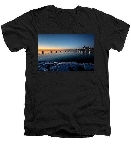 Icy Chicago Skyline At Dawn  Men's V-Neck T-Shirt