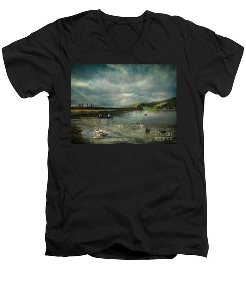 Idyllic Swans Lake Men's V-Neck T-Shirt