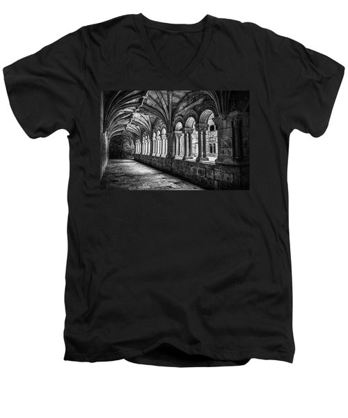 Interior Corridors Of The Monastery Of Santo Estevo De Ribas Del Sil Men's V-Neck T-Shirt