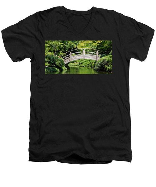 Men's V-Neck T-Shirt featuring the photograph Japanese Garden Arch Bridge In Springtime by Debi Dalio