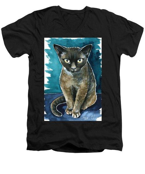 Joey - Devon Rex Cat Painting Men's V-Neck T-Shirt