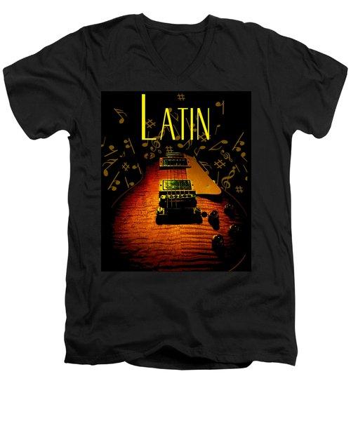 Latin Guitar Music Notes Men's V-Neck T-Shirt