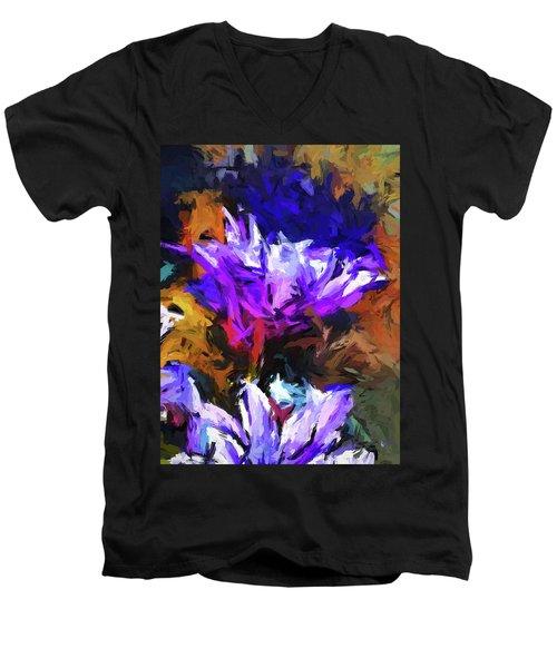 Lavender Flower And The Cobalt Blue Reflection Men's V-Neck T-Shirt