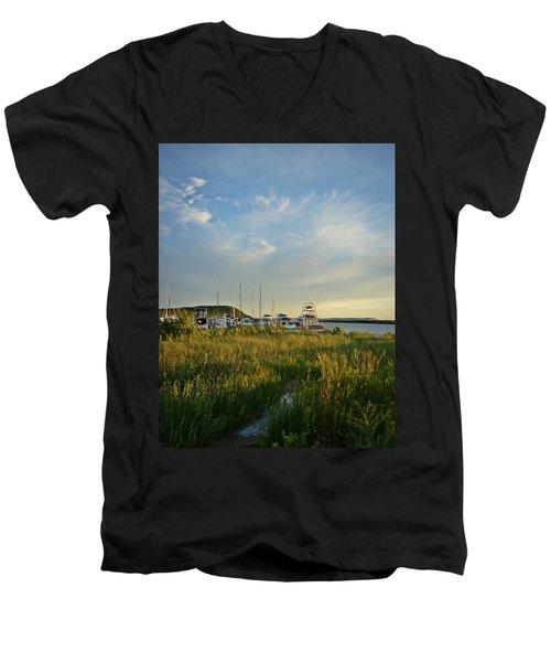 Leland Harbor At Sunset Men's V-Neck T-Shirt