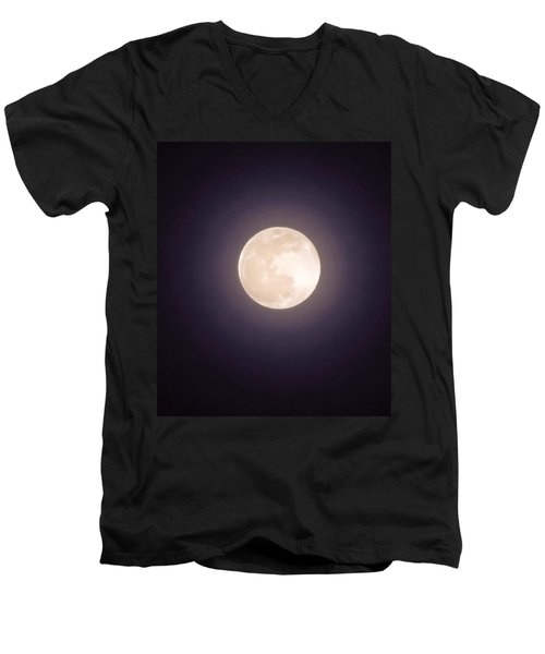 Men's V-Neck T-Shirt featuring the photograph Libra Full Moon by Judy Kennedy