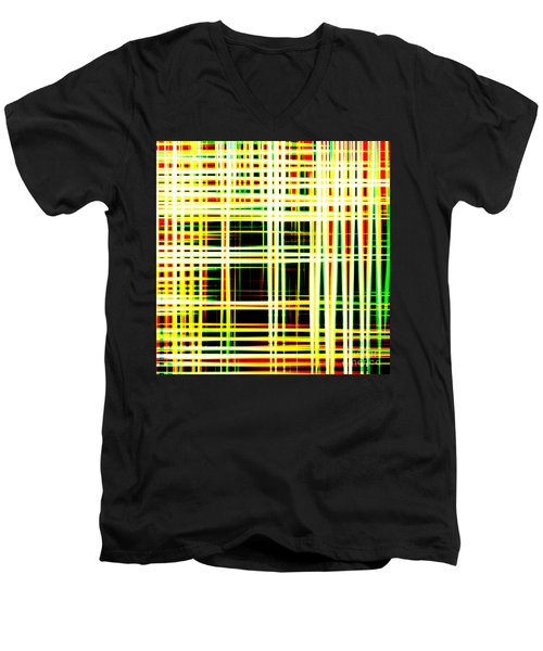 Lines And Squares In Color Waves - Plb418 Men's V-Neck T-Shirt