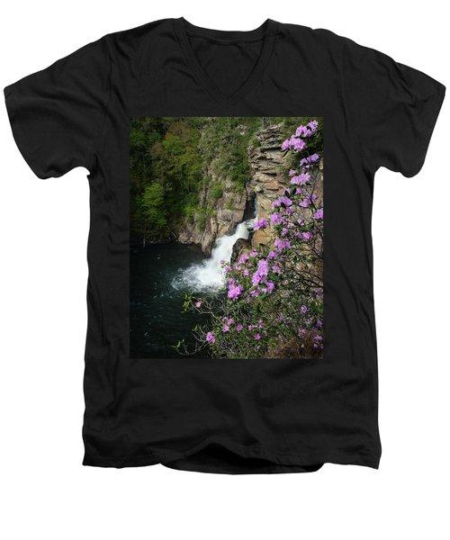 Linville Falls Carolina Rhododendron Men's V-Neck T-Shirt
