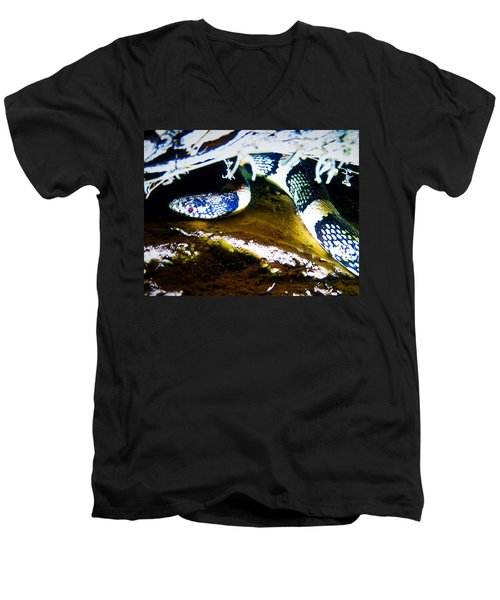 Men's V-Neck T-Shirt featuring the photograph Longnosed Snake In The Desert by Judy Kennedy