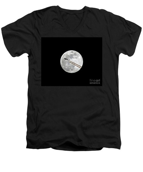 Lunar Photobomb Men's V-Neck T-Shirt