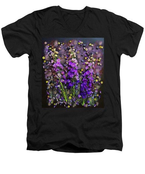 Lupine And Blueberries  Men's V-Neck T-Shirt