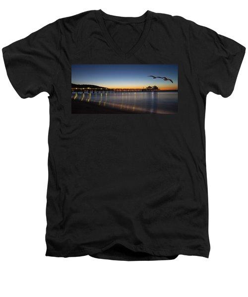 Malibu Pier At Sunrise Men's V-Neck T-Shirt