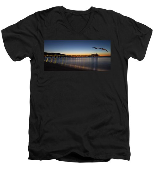Malibu Pier At Sunrise Men's V-Neck T-Shirt