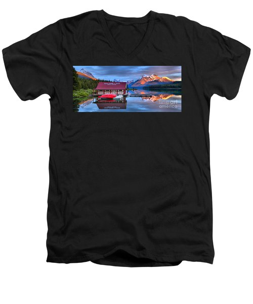 Maligne Lake Sunset Spectacular Men's V-Neck T-Shirt