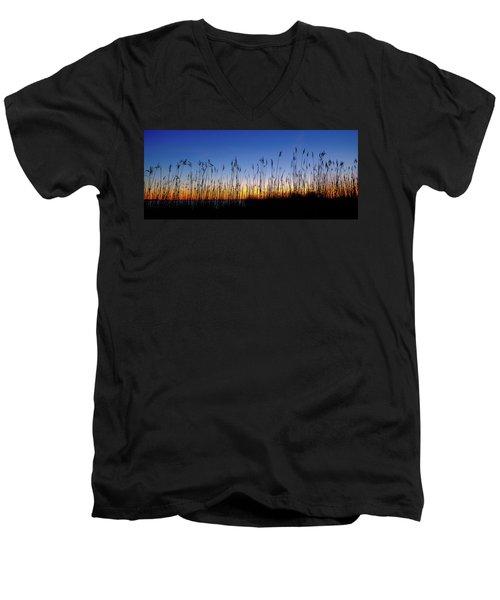Marsh Grass Silhouette  Men's V-Neck T-Shirt