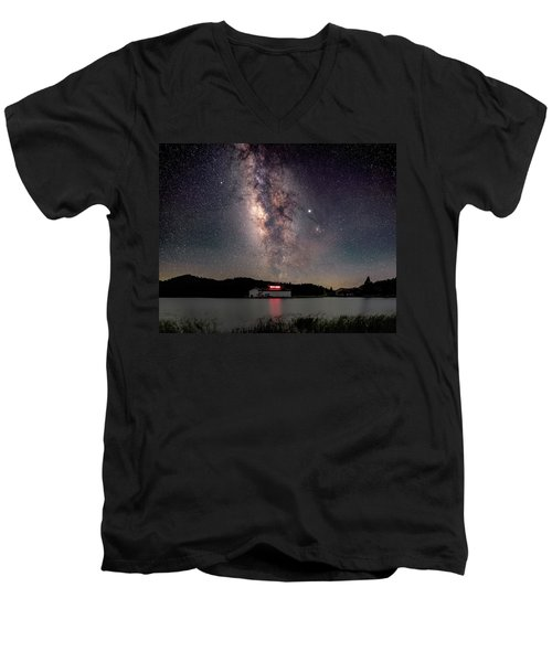 Milky Way Over The Tianping Mountain Lake Temple Men's V-Neck T-Shirt