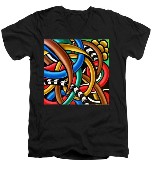 Colorful Abstract Art Painting Chromatic Intuitive Energy Art - Ai P. Nilson Men's V-Neck T-Shirt
