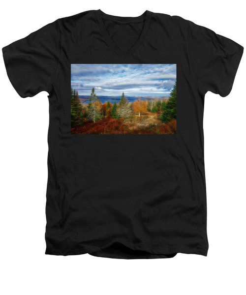 Mooselookmeguntic Lake Fall Colors Men's V-Neck T-Shirt