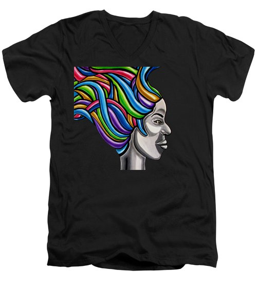Colorful 3d Abstract Painting, Black Woman, Colorful Hair Art Artwork - African Goddess Men's V-Neck T-Shirt