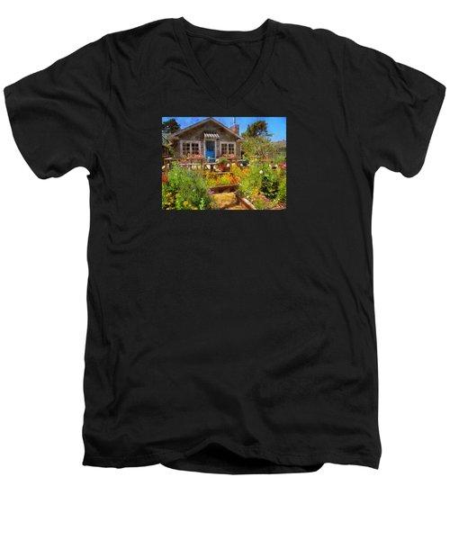 Men's V-Neck T-Shirt featuring the photograph Neskowin Beach House by Thom Zehrfeld