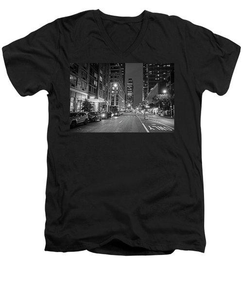 New York City Gotham West Market New York Ny Black And White Men's V-Neck T-Shirt