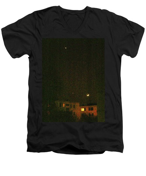 Men's V-Neck T-Shirt featuring the photograph Night Lights by Attila Meszlenyi