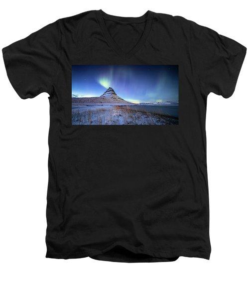 Northern Lights Atop Kirkjufell Iceland Men's V-Neck T-Shirt