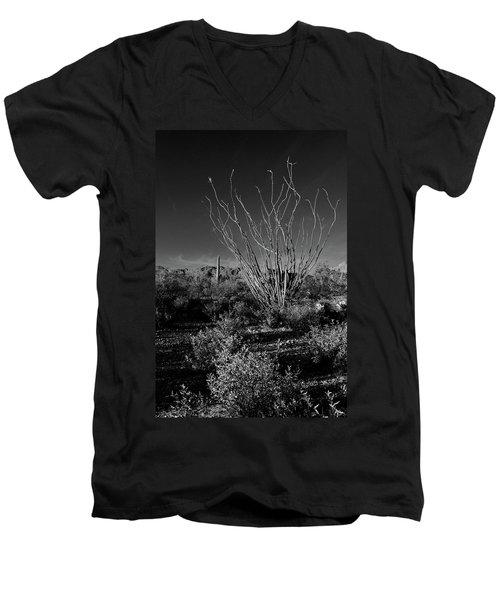 Ocotillo Black And White Men's V-Neck T-Shirt
