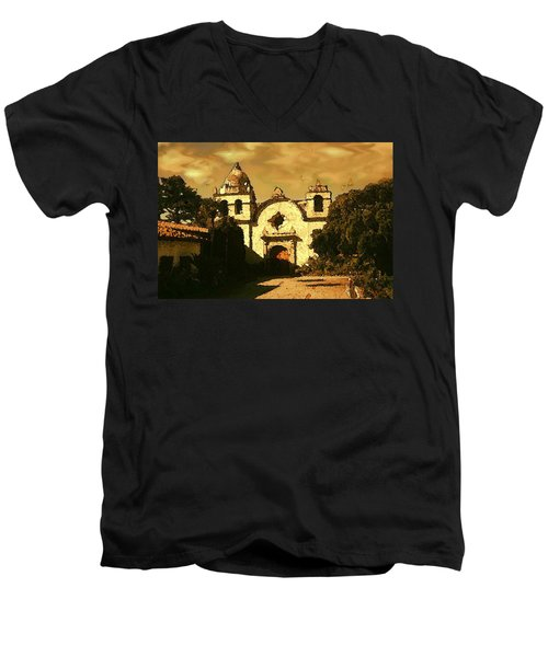 Old Carmel Mission - Watercolor Painting Men's V-Neck T-Shirt