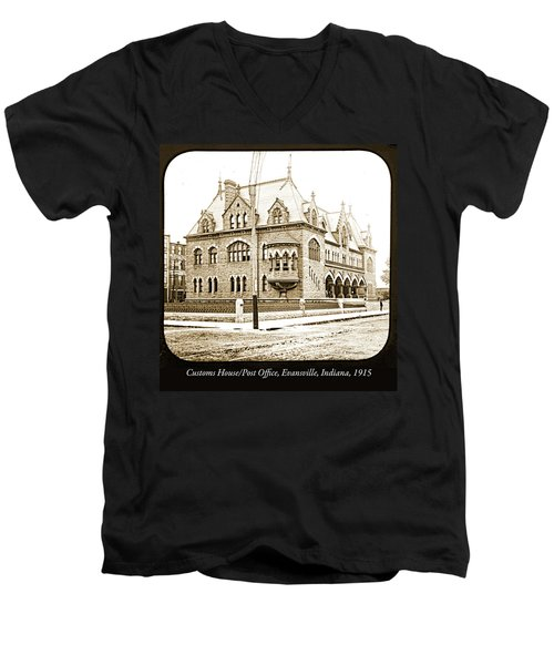Old Customs House And Post Office, Evansville, Indiana, 1915 Men's V-Neck T-Shirt
