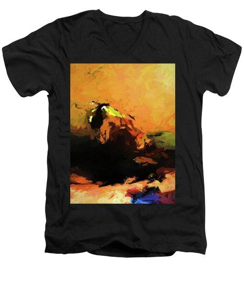 Orange Bull Cat Men's V-Neck T-Shirt