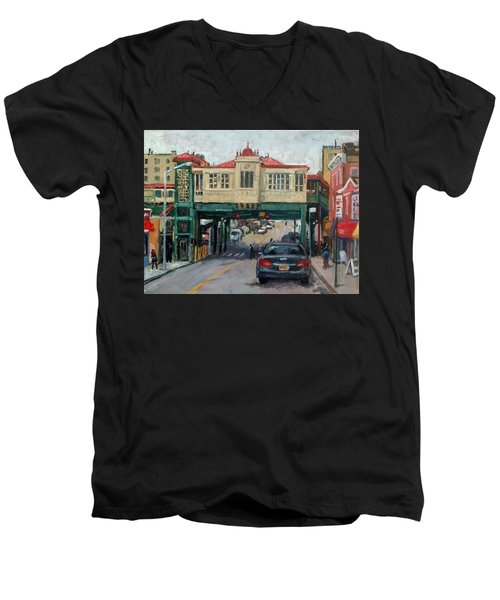 Overcast 231 Street Bronx Nyc Men's V-Neck T-Shirt