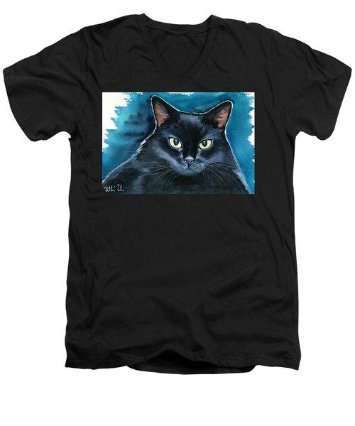Ozzy Black Cat Painting Men's V-Neck T-Shirt