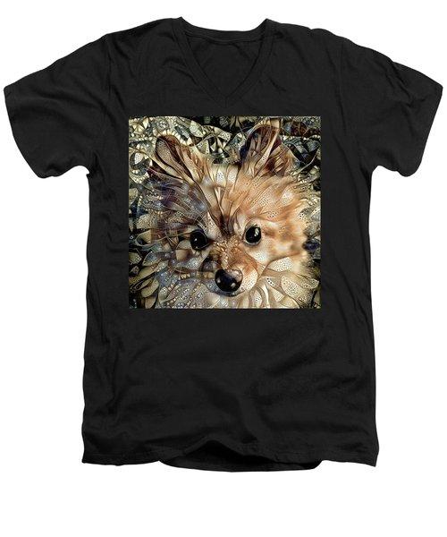 Paris The Pomeranian Dog Men's V-Neck T-Shirt