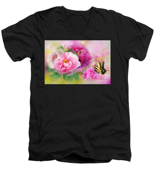 Peonies And Butterfly Men's V-Neck T-Shirt
