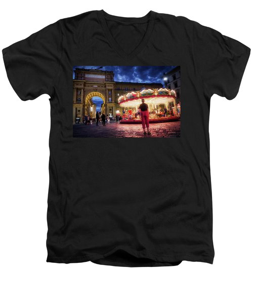 Men's V-Neck T-Shirt featuring the digital art Piazza Della Reppublica At Night In Firenze With Painterly Effects by Eduardo Jose Accorinti