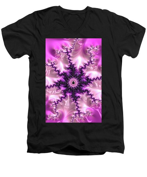 Men's V-Neck T-Shirt featuring the digital art Pink And Purple Abstract Fractal by Matthias Hauser