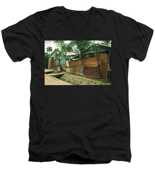 Men's V-Neck T-Shirt featuring the photograph Pink Dress - Dominican Republic by Rick Veldman