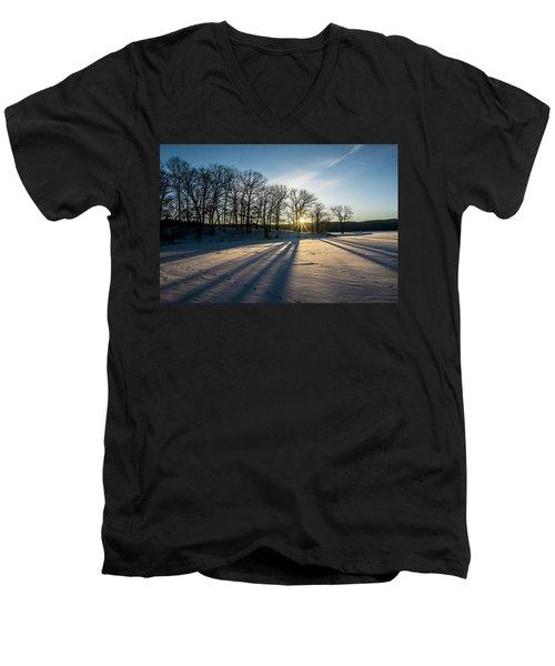 Pretty Winter Sun Rise Scene Men's V-Neck T-Shirt