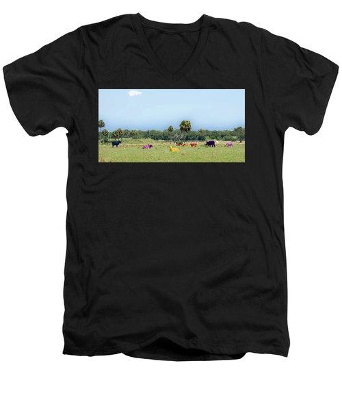 Psychedelic Cows Men's V-Neck T-Shirt