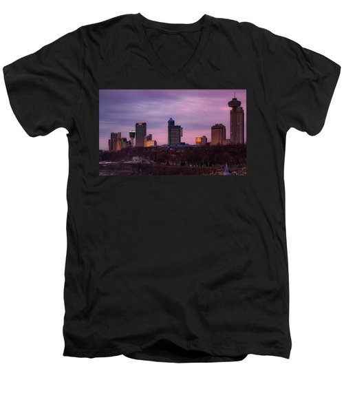 Purple Haze Skyline Men's V-Neck T-Shirt