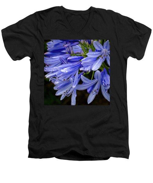 Rain Drops On Blue Flower II Men's V-Neck T-Shirt