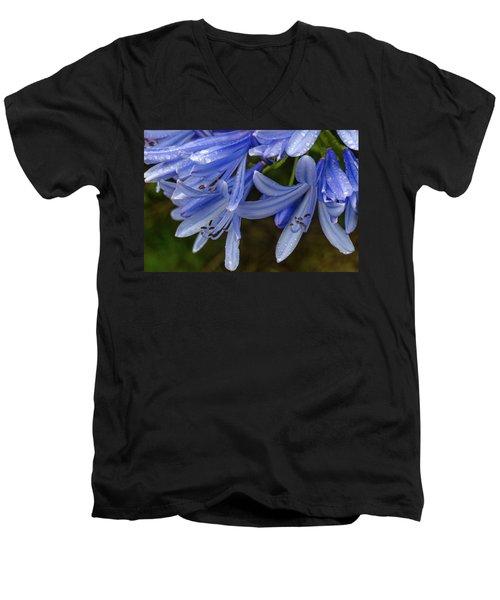 Rain Drops On Blue Flower Men's V-Neck T-Shirt
