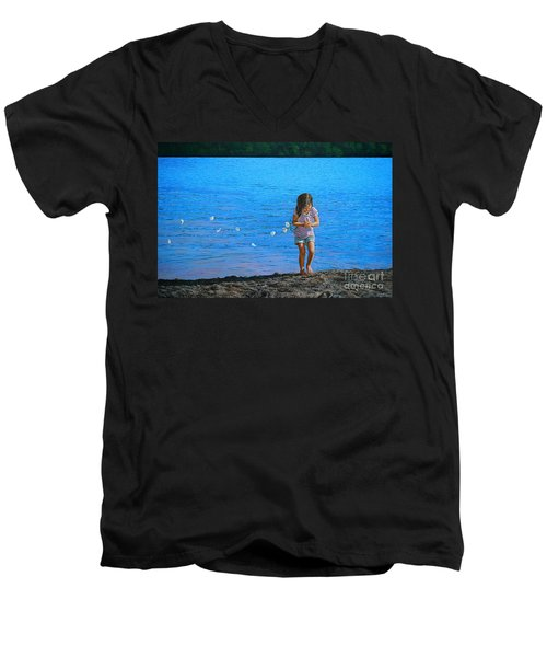 Men's V-Neck T-Shirt featuring the painting Rescuer by Christopher Shellhammer