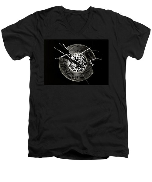 Ring Of Saturn. Calligraphic Abstract Men's V-Neck T-Shirt